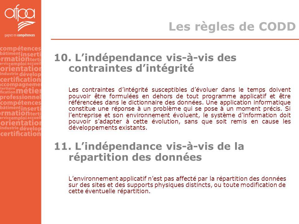 Les règles de CODD 10. L'indépendance vis-à-vis des contraintes d'intégrité.