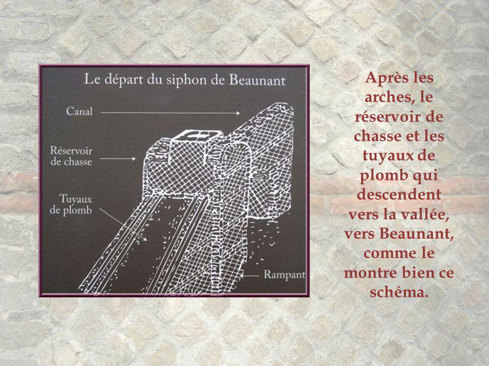 Après les arches, le réservoir de chasse et les tuyaux de plomb qui descendent vers la vallée, vers Beaunant, comme le montre bien ce schéma.