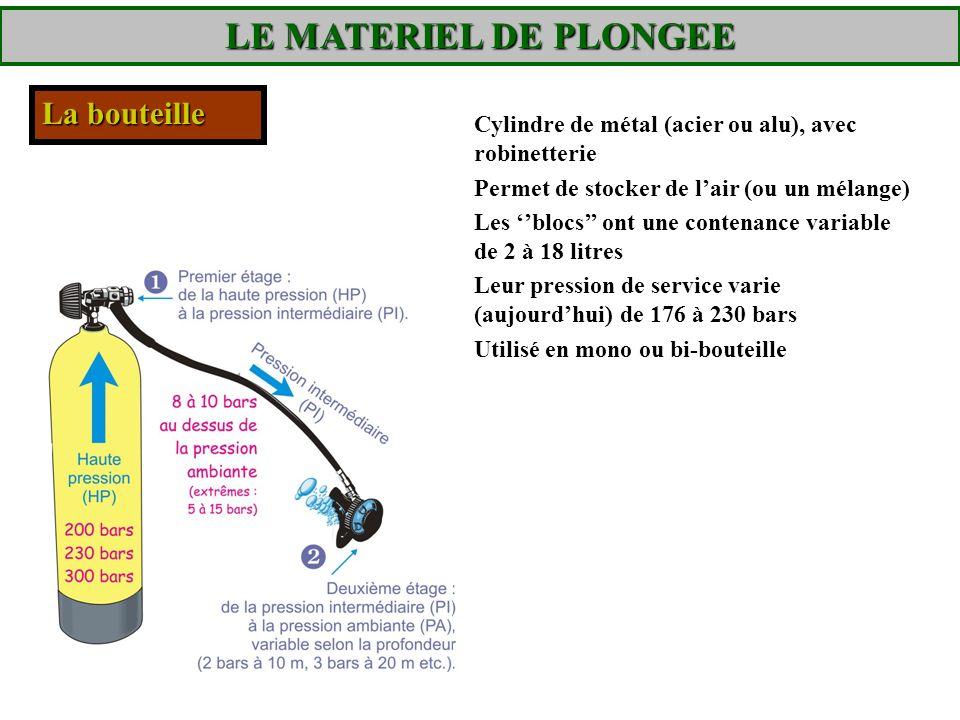 LE MATERIEL DE PLONGEE La bouteille