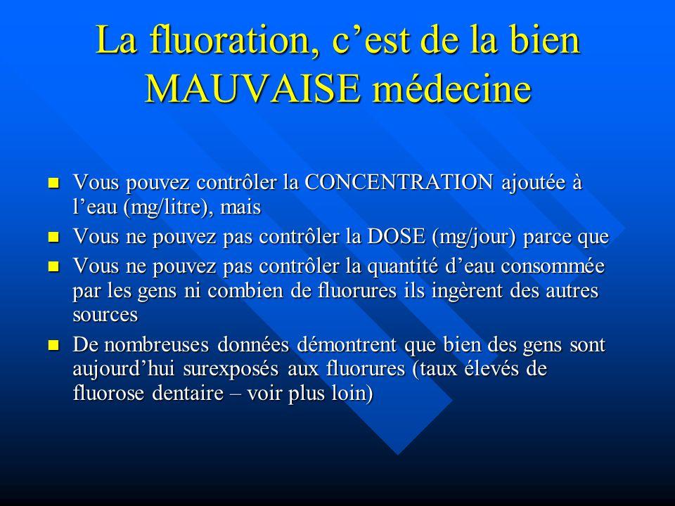 La fluoration, c'est de la bien MAUVAISE médecine