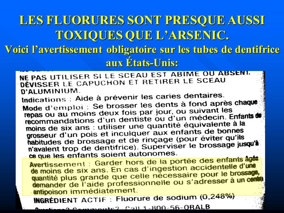 LES FLUORURES SONT PRESQUE AUSSI TOXIQUES QUE L'ARSENIC