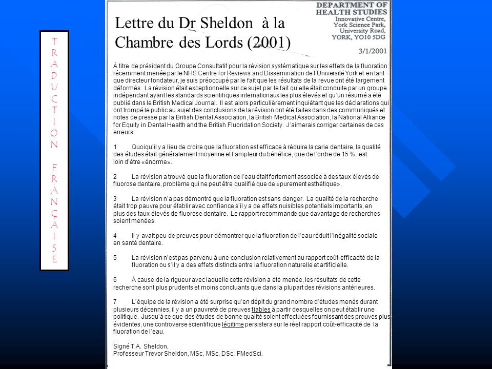 Lettre du Dr Sheldon à la Chambre des Lords (2001)