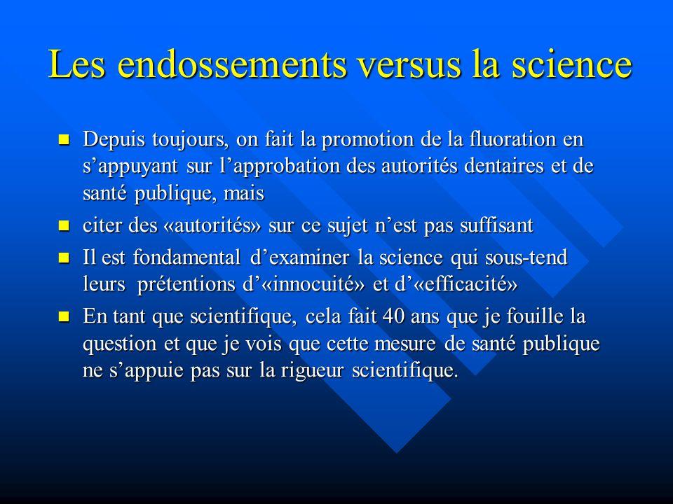 Les endossements versus la science