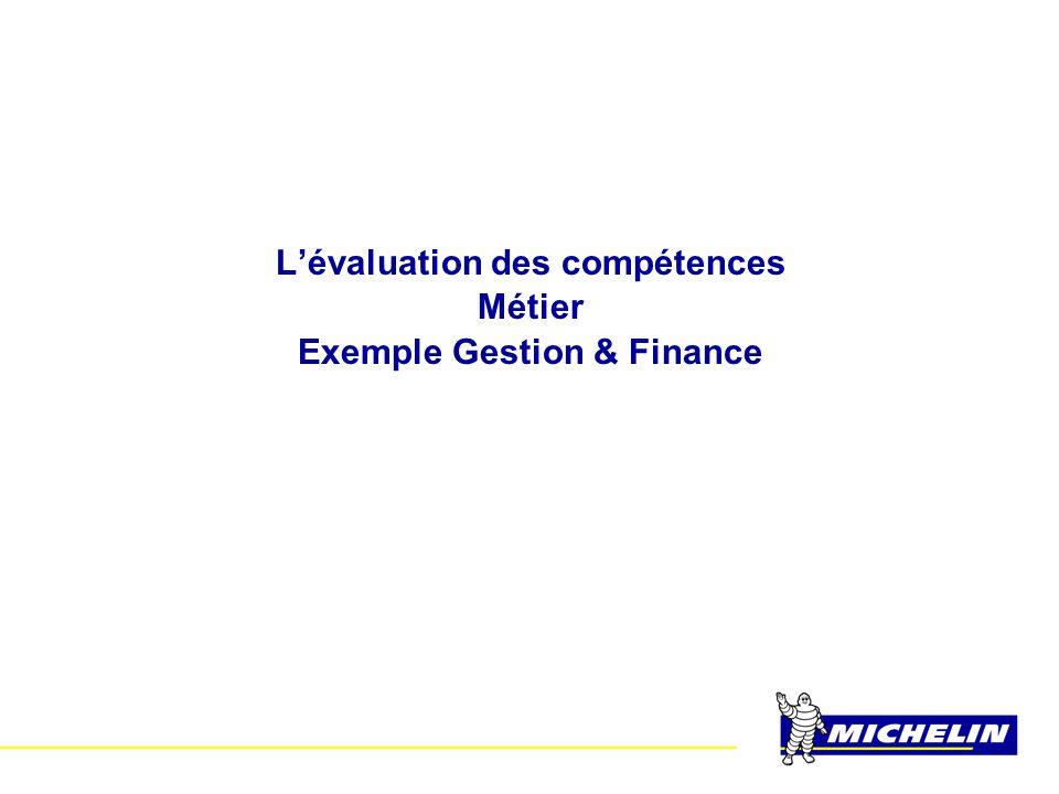L'évaluation des compétences Exemple Gestion & Finance