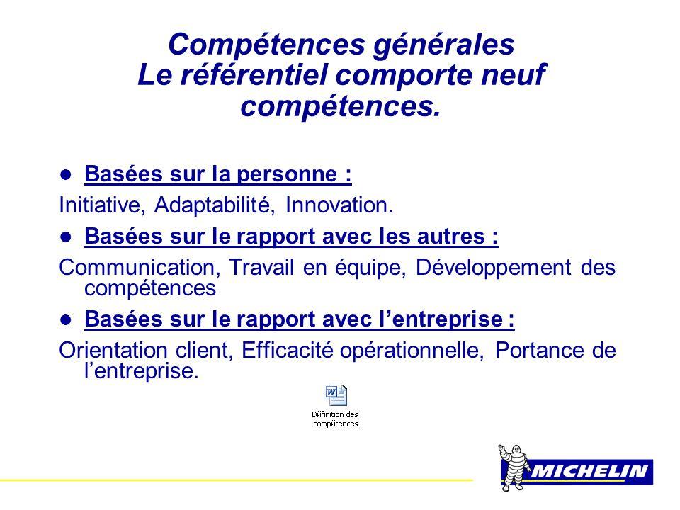 Compétences générales Le référentiel comporte neuf compétences.