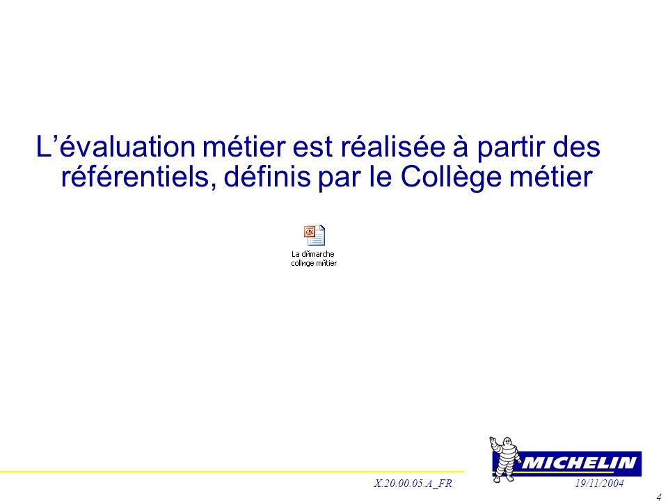 L'évaluation métier est réalisée à partir des référentiels, définis par le Collège métier