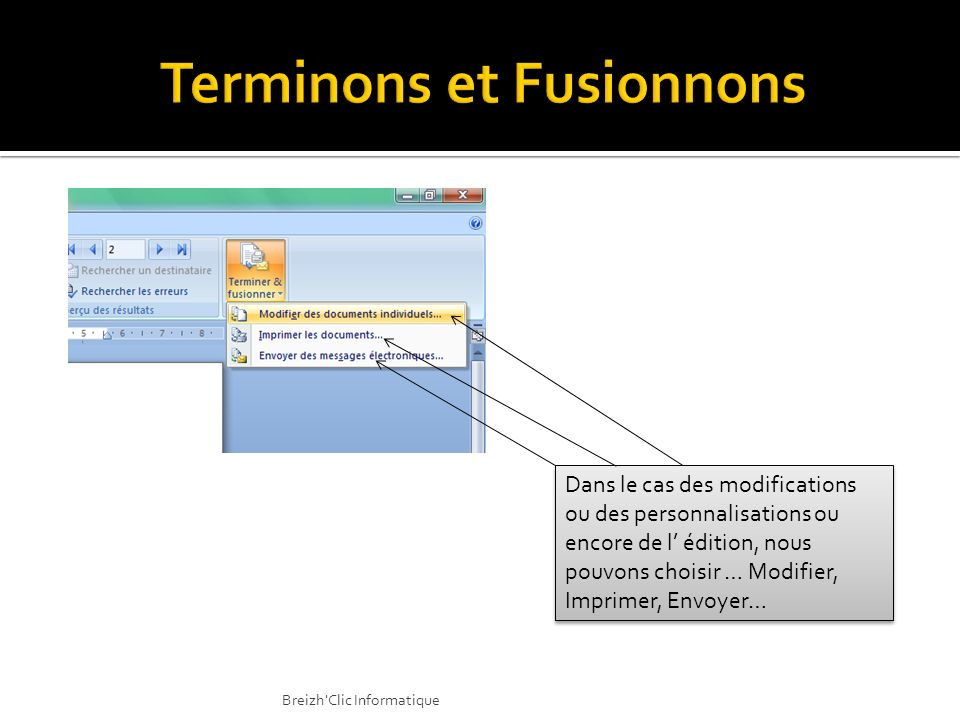 Terminons et Fusionnons