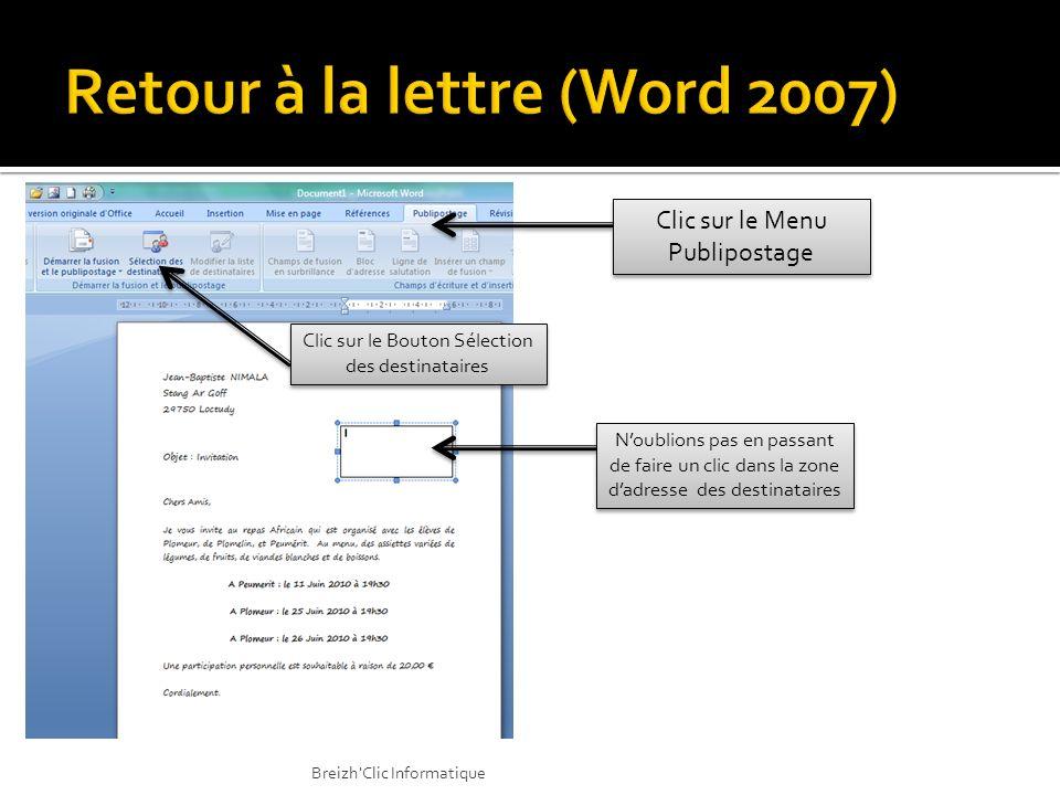 Retour à la lettre (Word 2007)