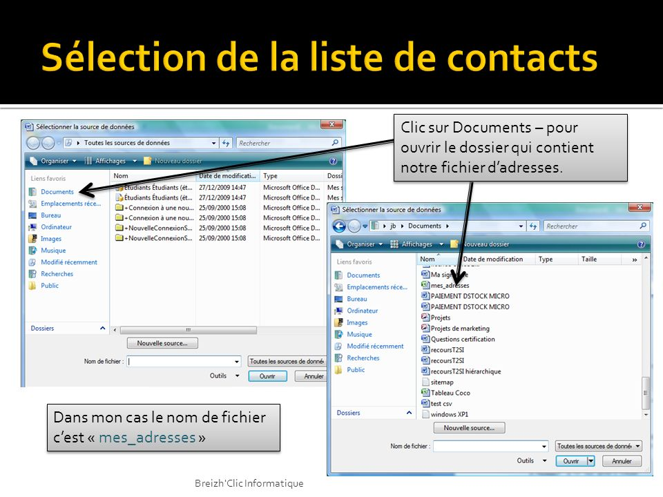 Sélection de la liste de contacts