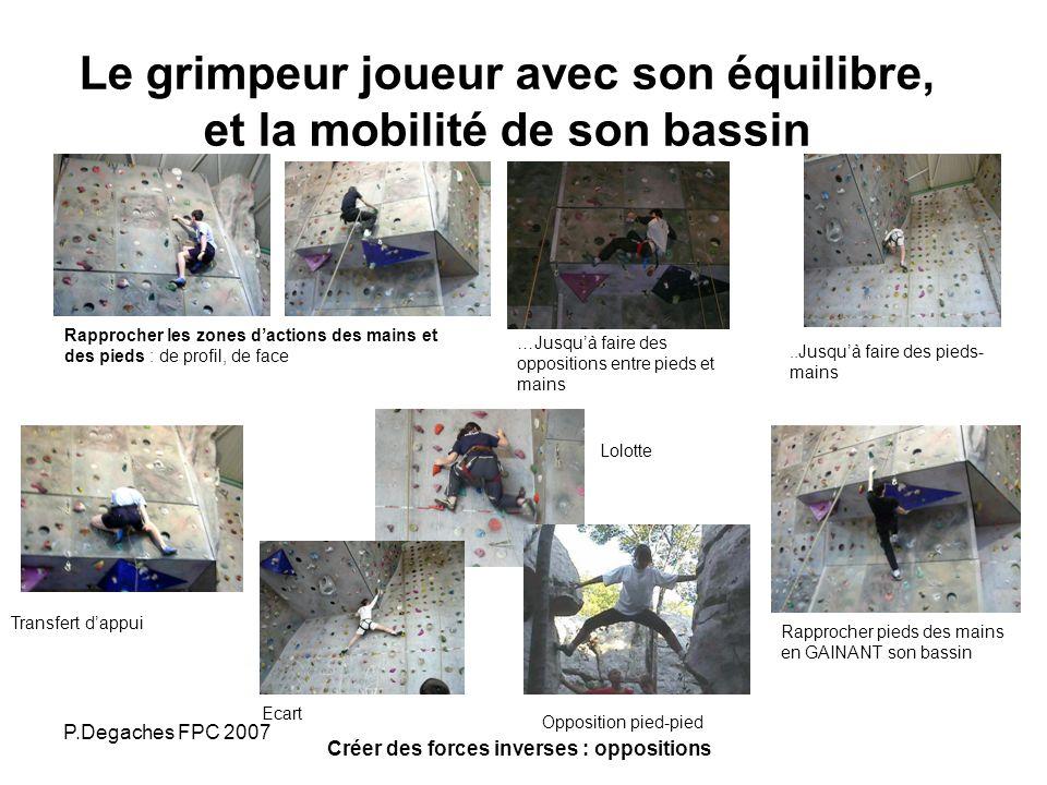 Le grimpeur joueur avec son équilibre, et la mobilité de son bassin