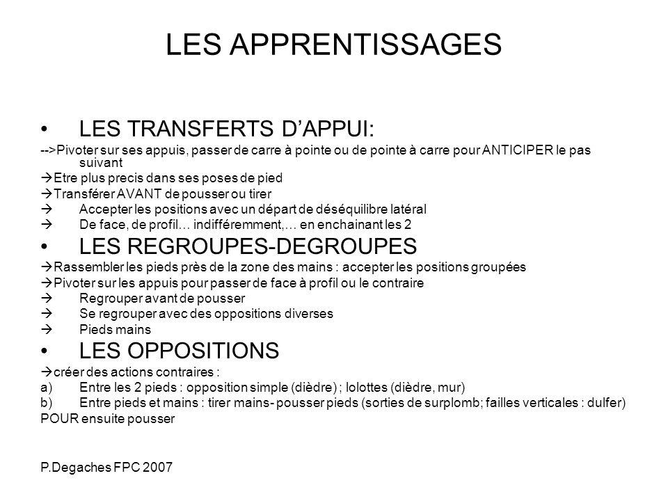 LES APPRENTISSAGES LES TRANSFERTS D'APPUI: LES REGROUPES-DEGROUPES