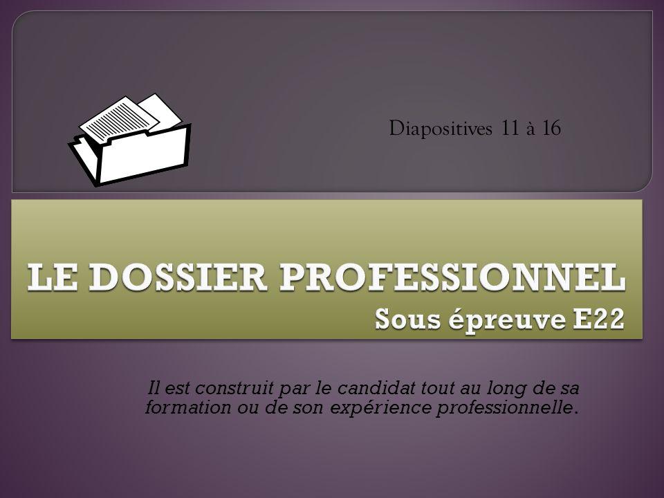 LE DOSSIER PROFESSIONNEL Sous épreuve E22