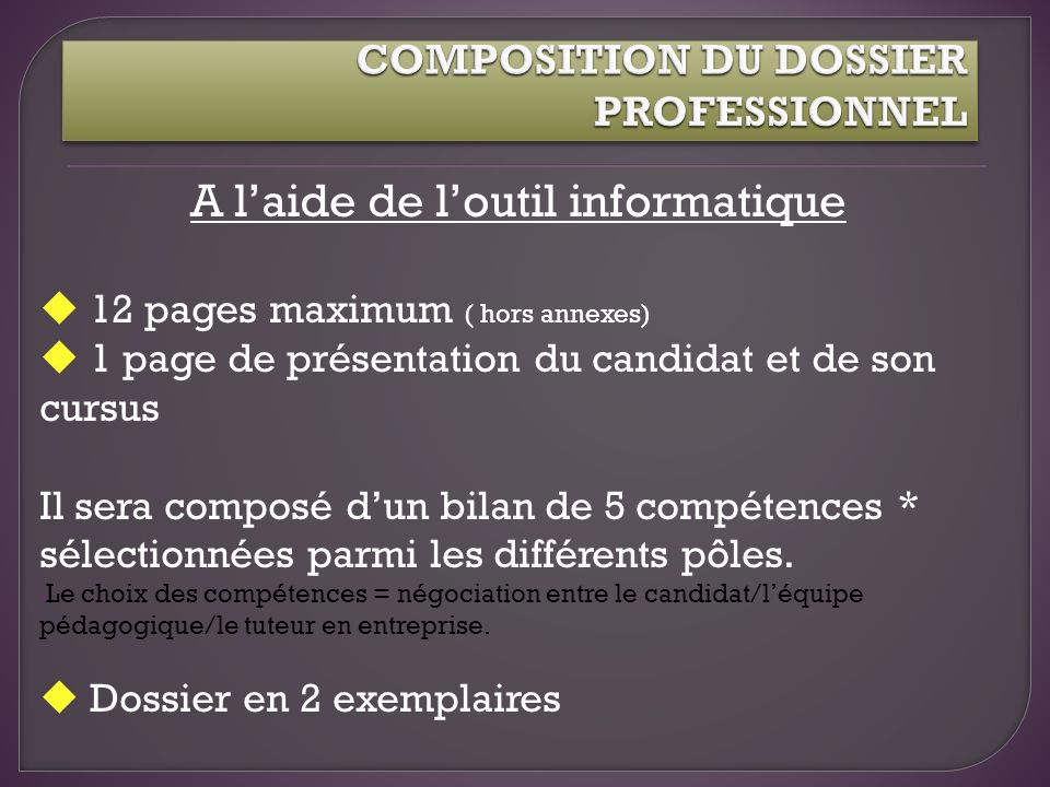 COMPOSITION DU DOSSIER PROFESSIONNEL
