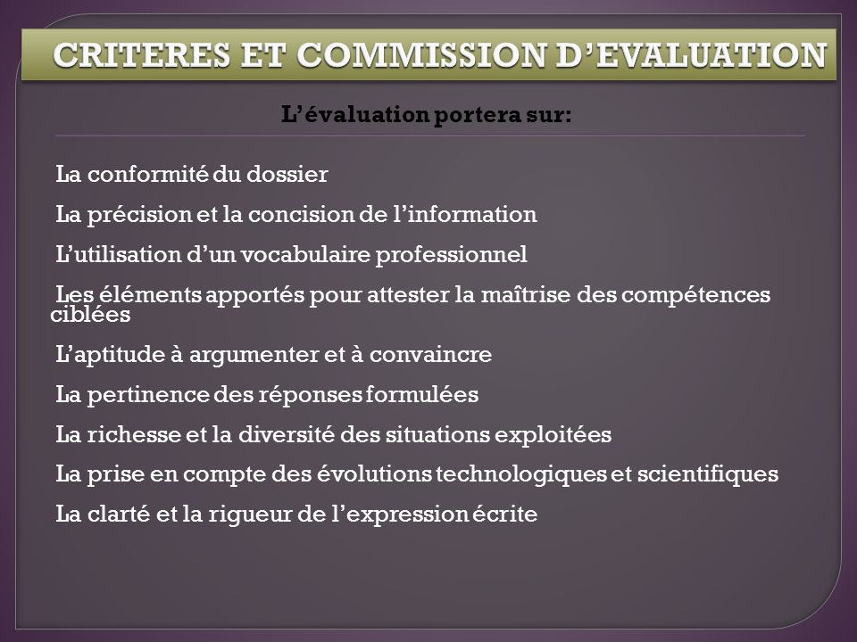CRITERES ET COMMISSION D'EVALUATION