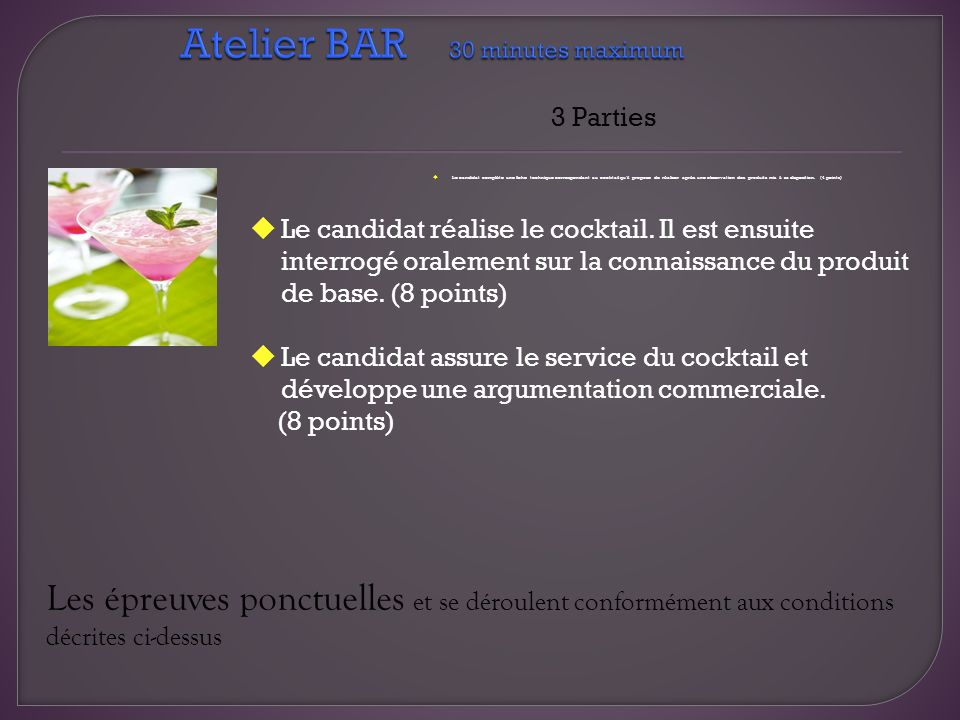Atelier BAR 30 minutes maximum