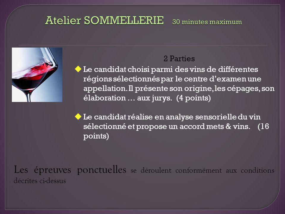Atelier SOMMELLERIE 30 minutes maximum
