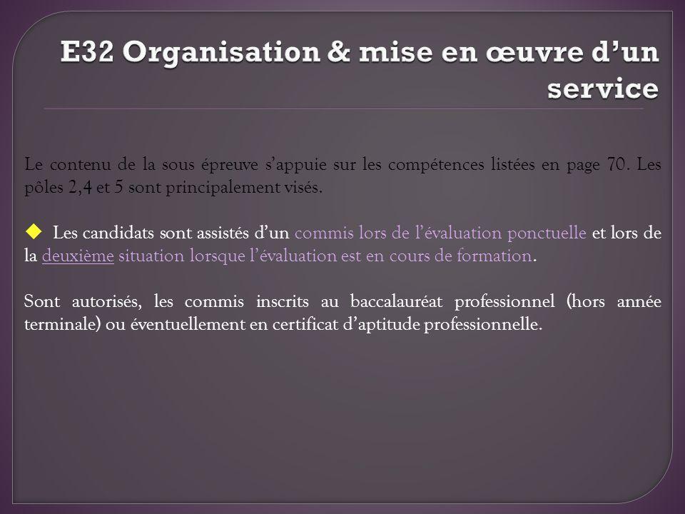 E32 Organisation & mise en œuvre d'un service