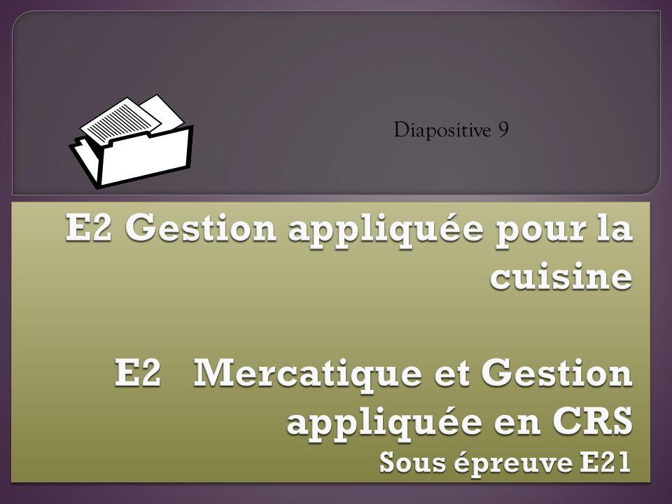 Diapositive 9E2 Gestion appliquée pour la cuisine E2 Mercatique et Gestion appliquée en CRS Sous épreuve E21.