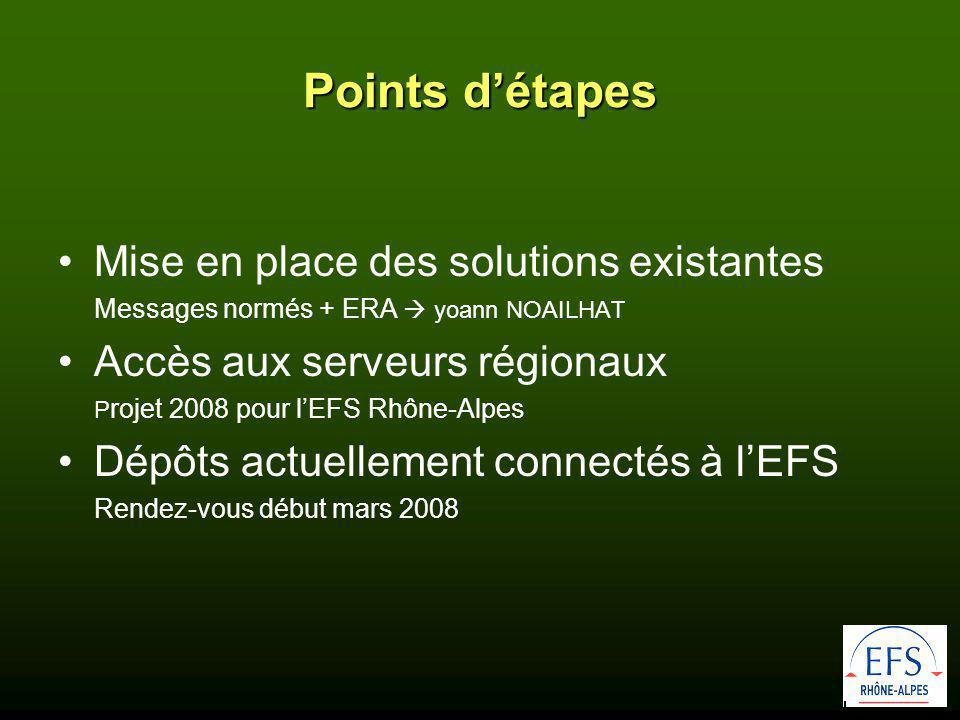 Points d'étapes Mise en place des solutions existantes