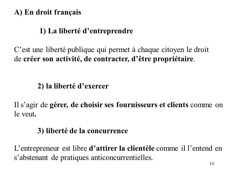 A) En droit français 1) La liberté d'entreprendre. C'est une liberté publique qui permet à chaque citoyen le droit.