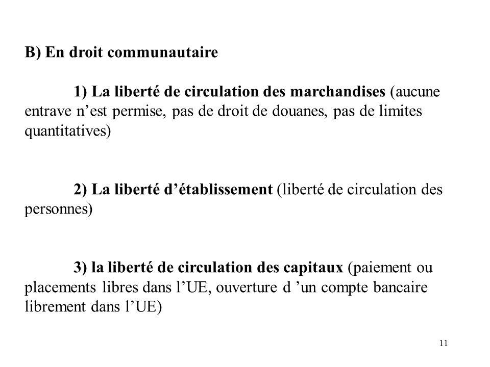 B) En droit communautaire
