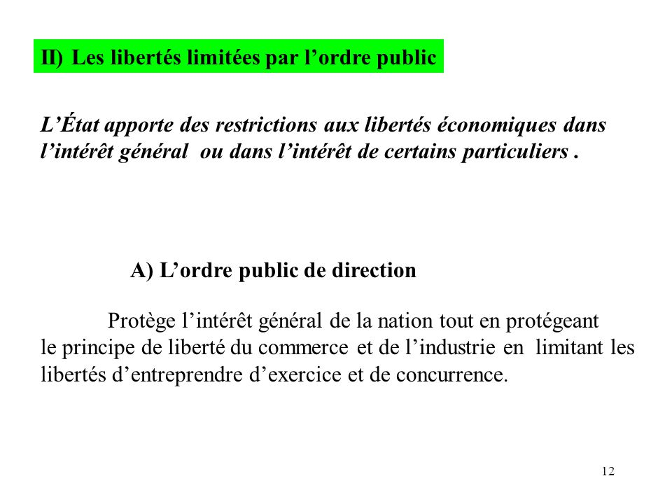 II) Les libertés limitées par l'ordre public