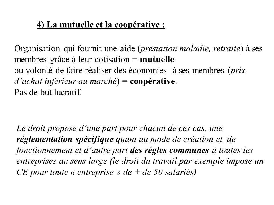 4) La mutuelle et la coopérative :