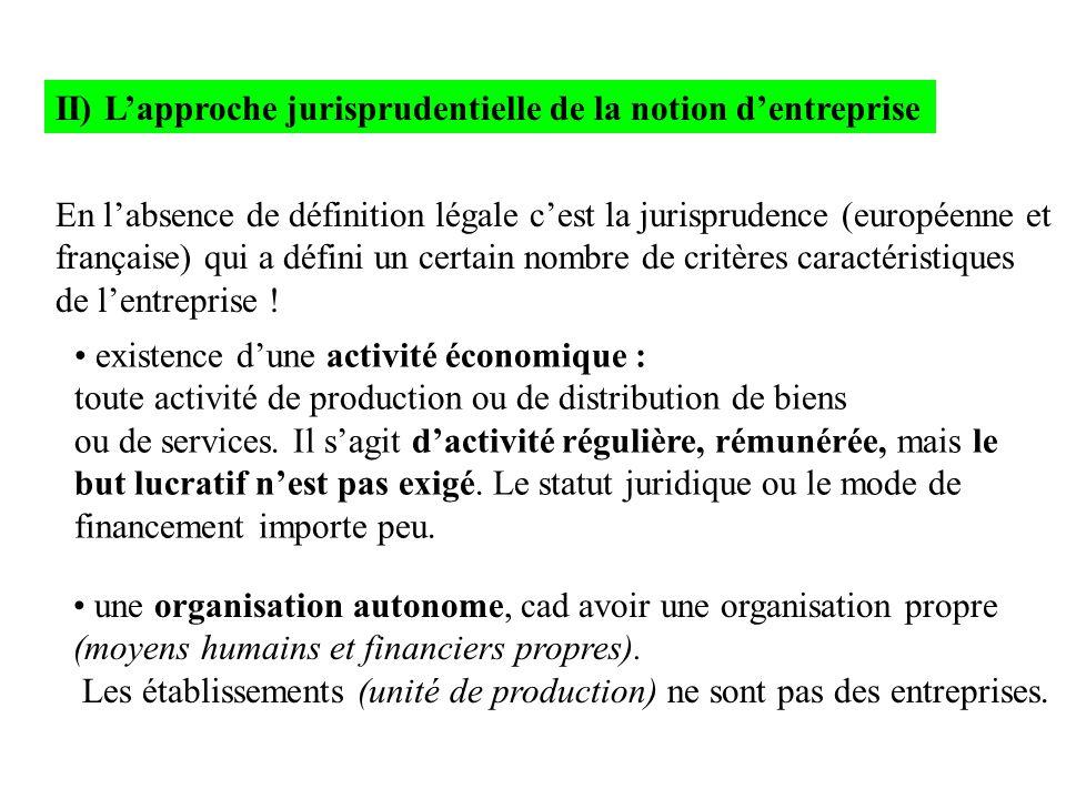 II) L'approche jurisprudentielle de la notion d'entreprise