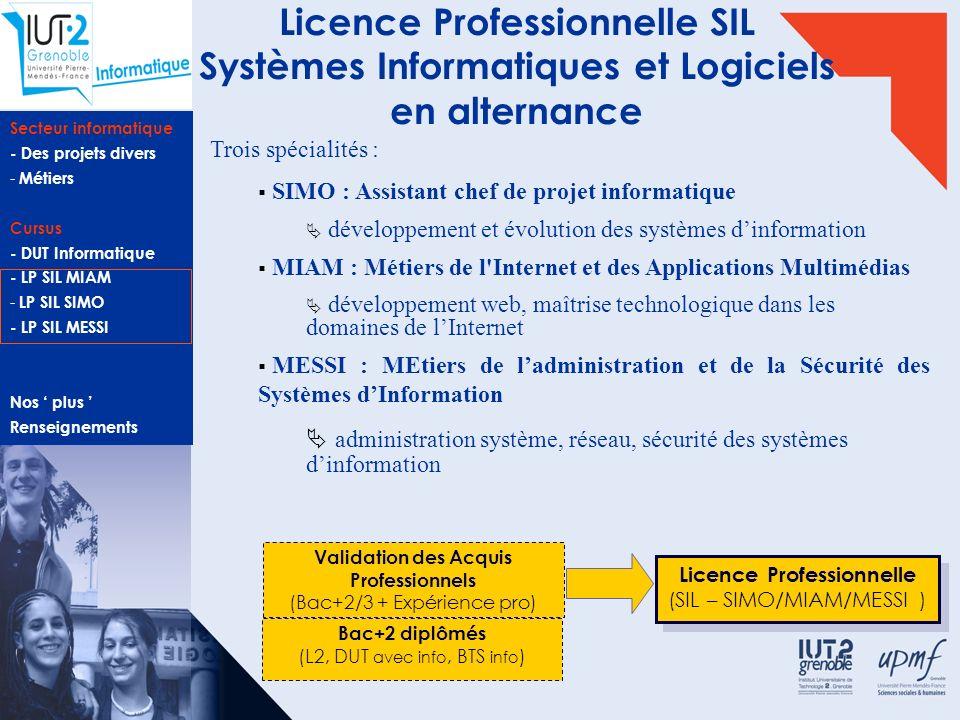 Licence Professionnelle SIL Systèmes Informatiques et Logiciels en alternance
