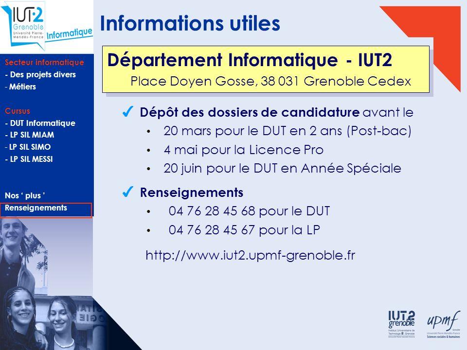 Informations utiles Département Informatique - IUT2