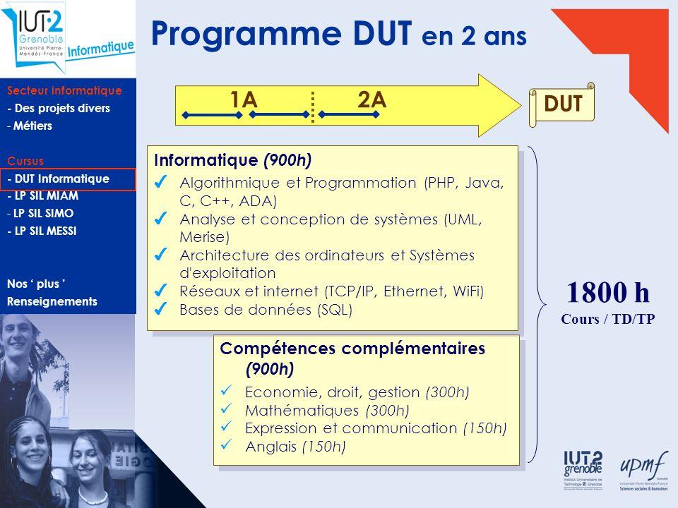 Programme DUT en 2 ans 1800 h 1A 2A DUT Informatique (900h)