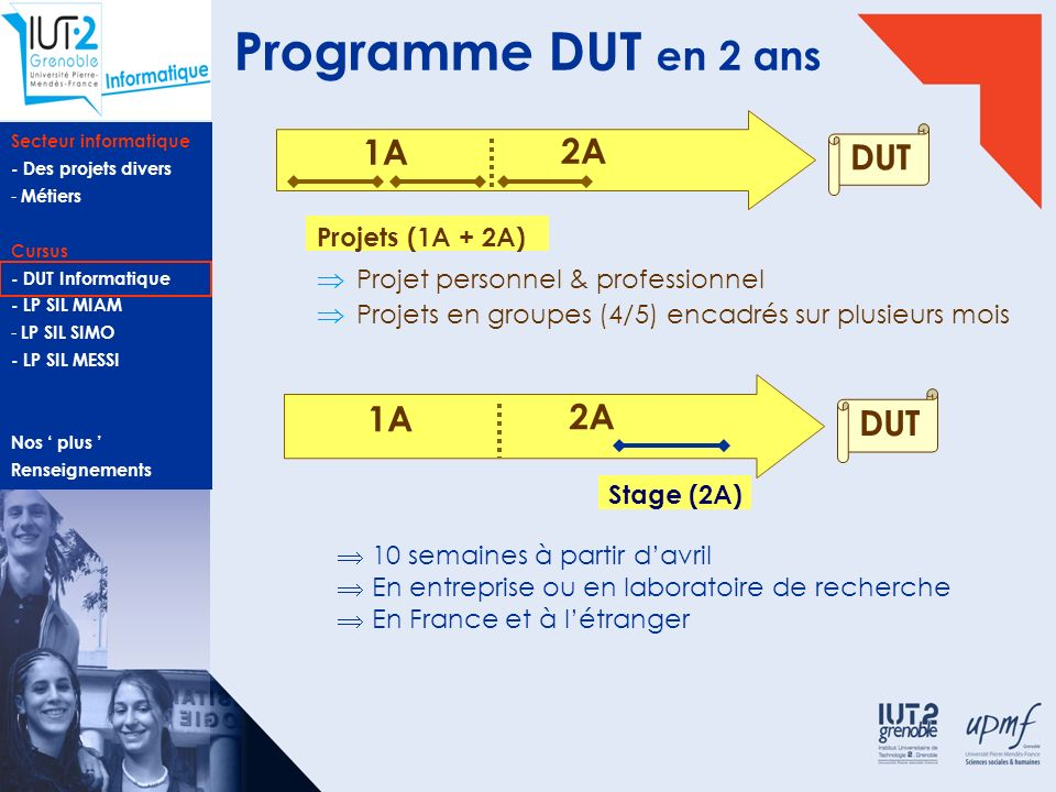 Programme DUT en 2 ans 1A 2A DUT 1A 2A DUT Projets (1A + 2A)