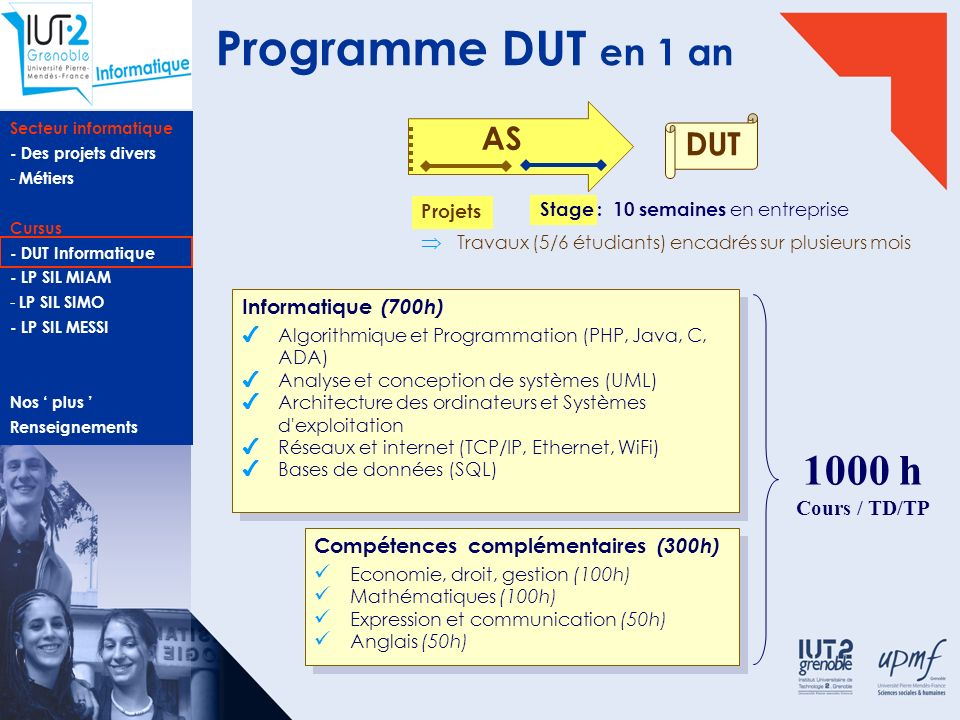 Programme DUT en 1 an 1000 h AS DUT Informatique (700h) Cours / TD/TP