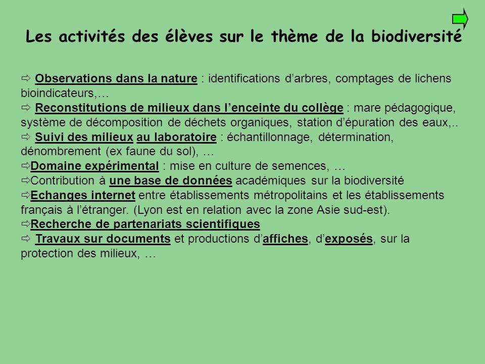 Les activités des élèves sur le thème de la biodiversité