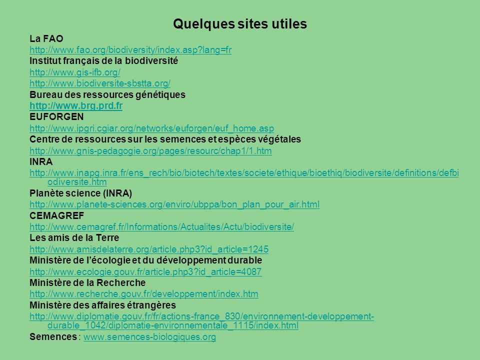Quelques sites utiles La FAO