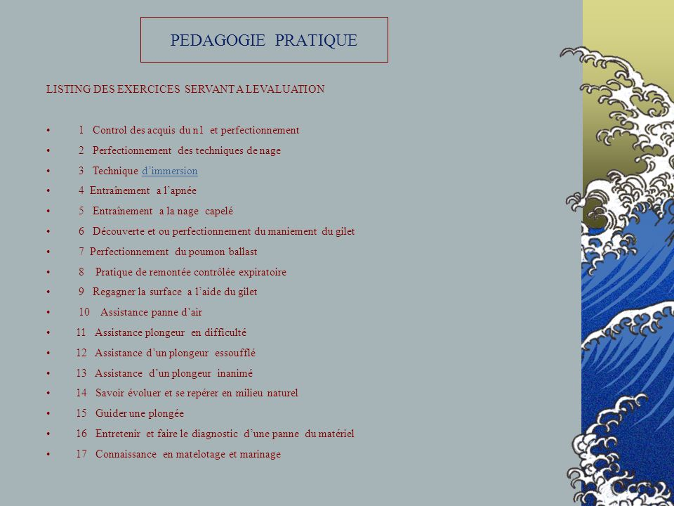 PEDAGOGIE PRATIQUE LISTING DES EXERCICES SERVANT A LEVALUATION