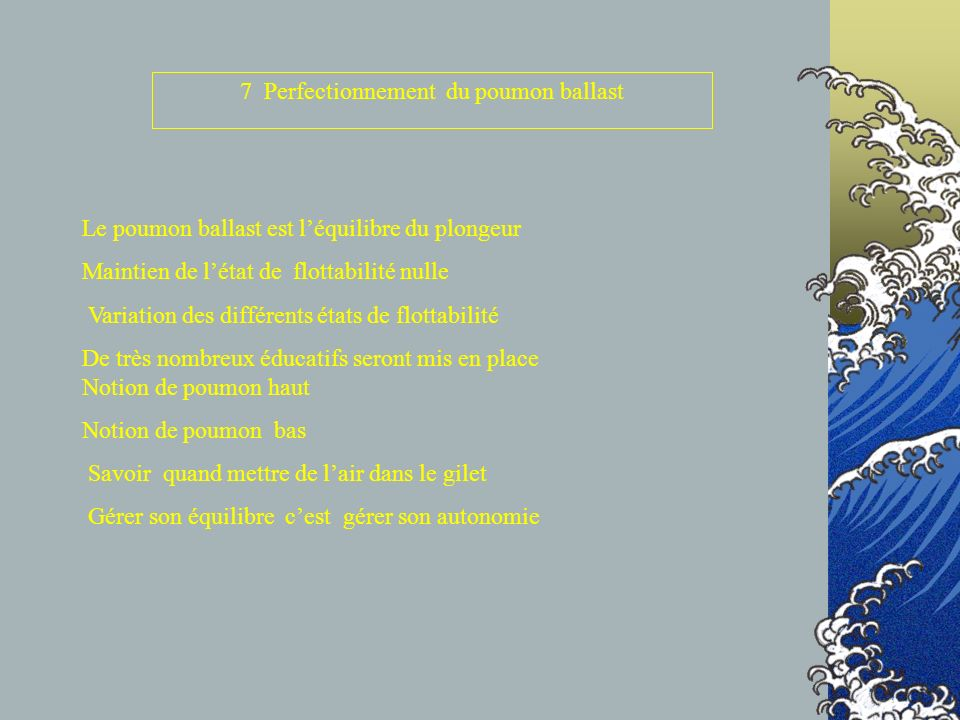 7 Perfectionnement du poumon ballast