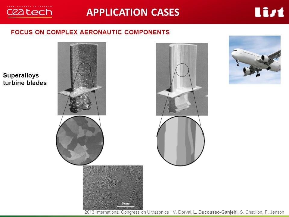APPLICATION CASES Focus on Complex AERONAUTIC componentS Superalloys
