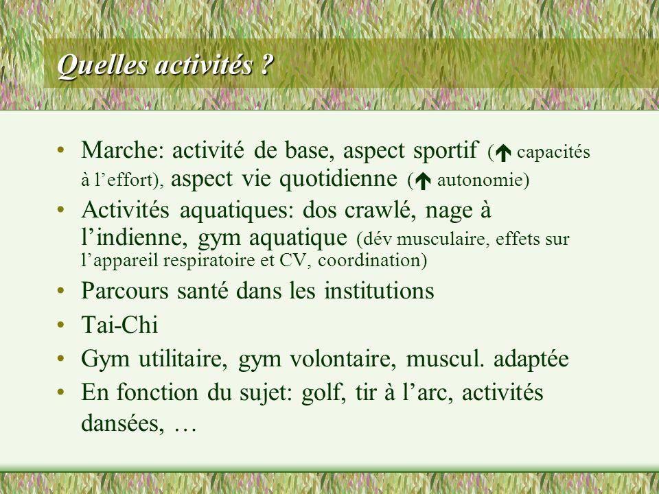 Quelles activités Marche: activité de base, aspect sportif ( capacités à l'effort), aspect vie quotidienne ( autonomie)