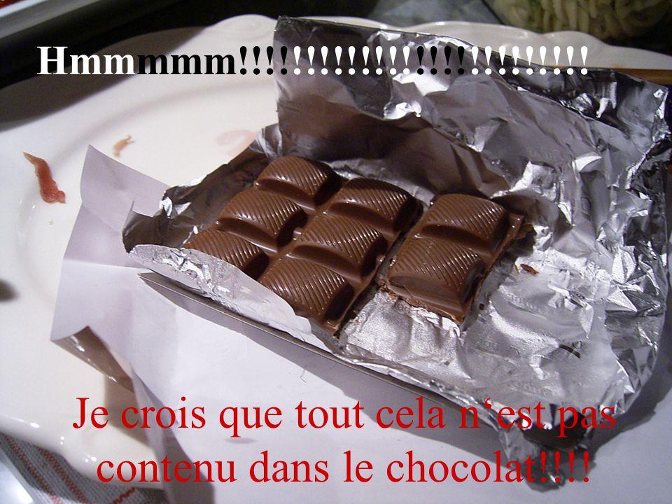 Je crois que tout cela n'est pas contenu dans le chocolat!!!!