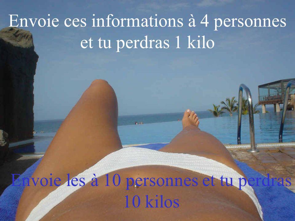 Envoie ces informations à 4 personnes et tu perdras 1 kilo