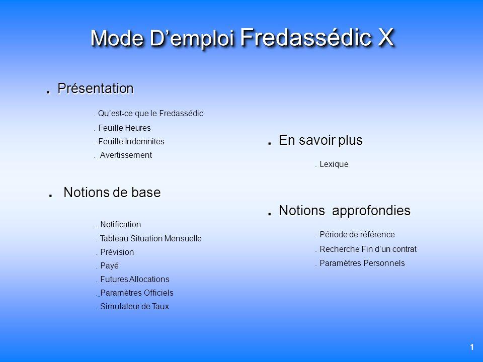 Mode D'emploi Fredassédic X
