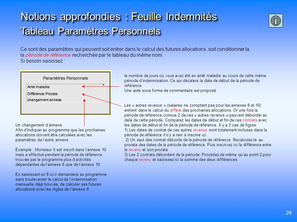 Notions approfondies : Feuille Indemnités