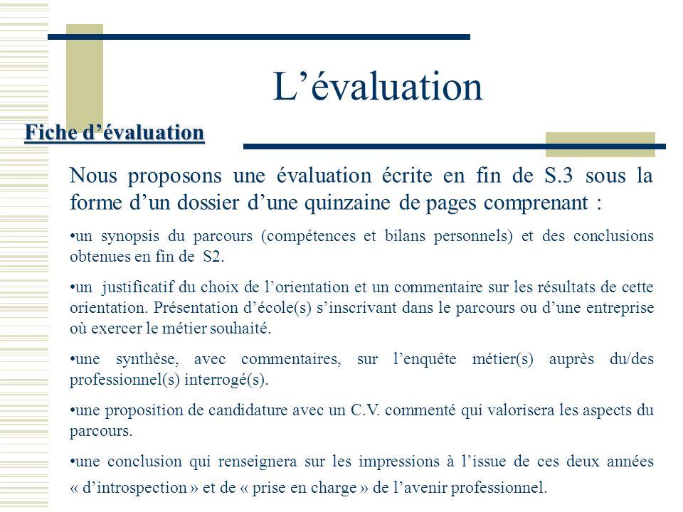 L'évaluation Fiche d'évaluation