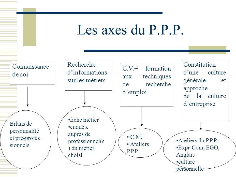 Les axes du P.P.P. Recherche d'informations sur les métiers