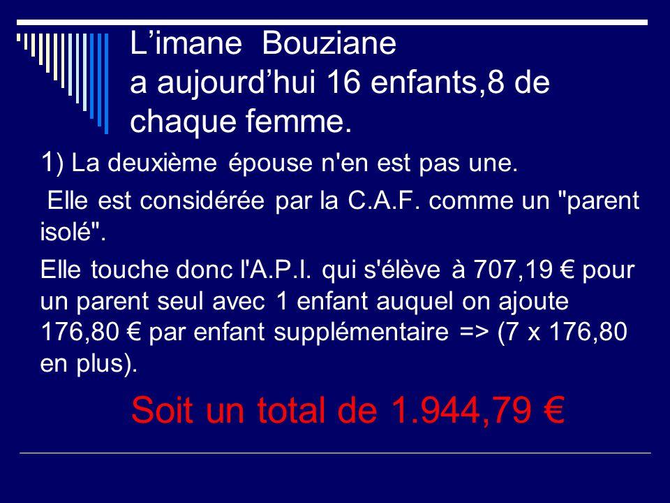 L'imane Bouziane a aujourd'hui 16 enfants,8 de chaque femme.