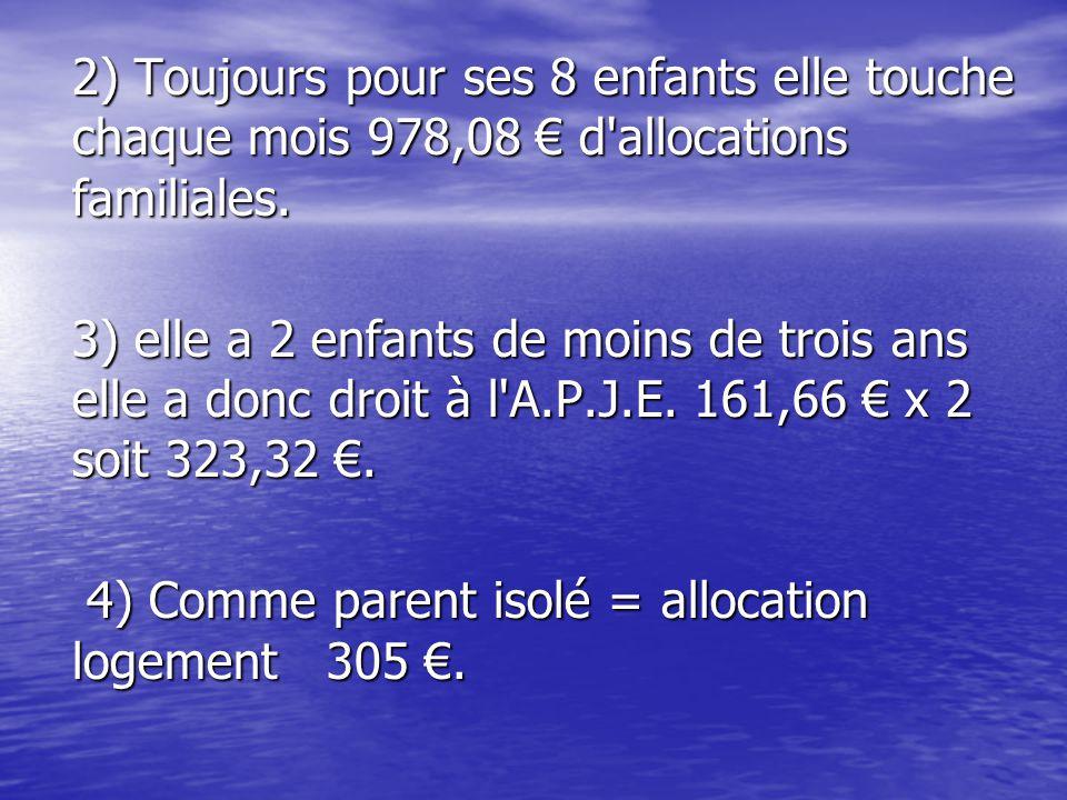 2) Toujours pour ses 8 enfants elle touche chaque mois 978,08 € d allocations familiales.