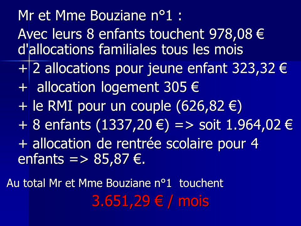 Mr et Mme Bouziane n°1 : Avec leurs 8 enfants touchent 978,08 € d allocations familiales tous les mois.