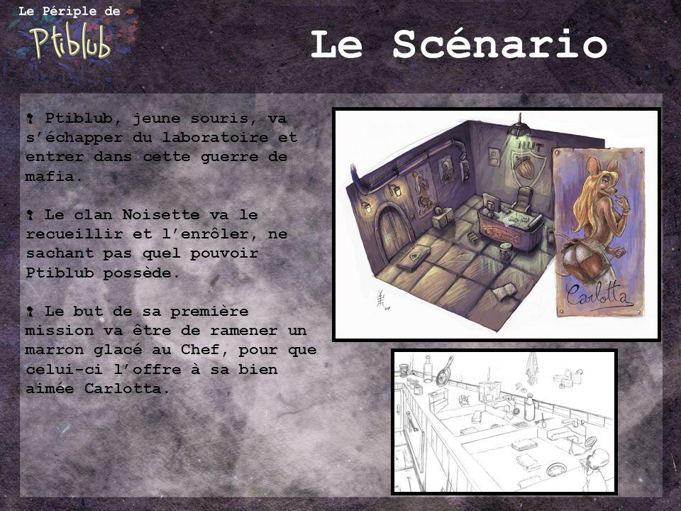 Le Scénario Ptiblub, jeune souris, va s'échapper du laboratoire et entrer dans cette guerre de mafia.
