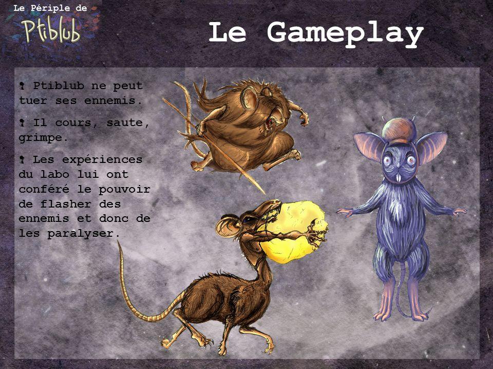 Le Gameplay Ptiblub ne peut tuer ses ennemis. Il cours, saute, grimpe.